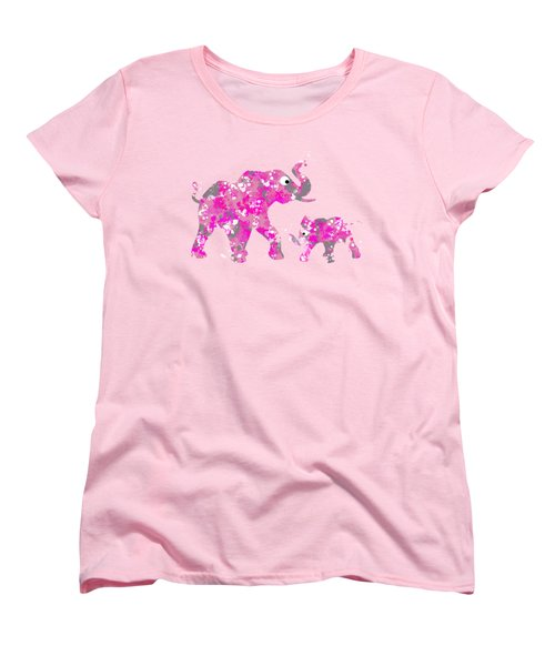 Pink Elephants Women's T-Shirt (Standard Cut) by Christina Rollo