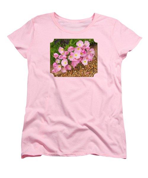 Pretty Pink Rock Roses In The Rain Women's T-Shirt (Standard Cut) by Gill Billington