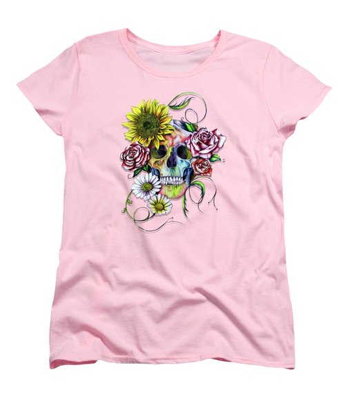 Skull And Flowers Women's T-Shirt (Standard Cut) by Isabel Salvador