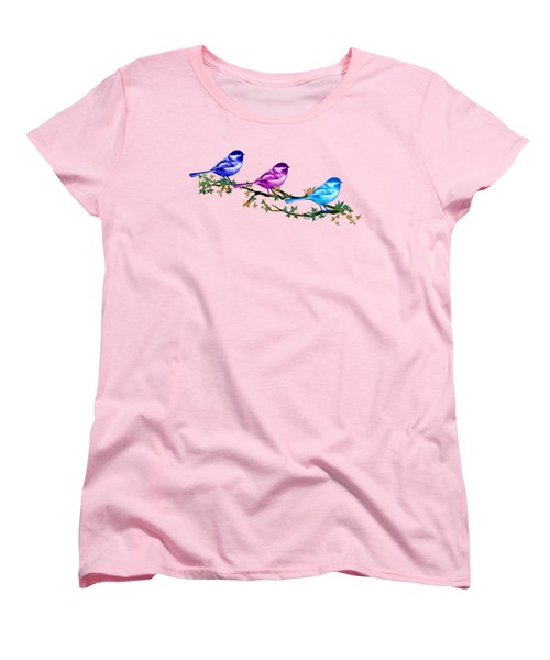 Three Chickadees Women's T-Shirt (Standard Cut) by Teresa Ascone