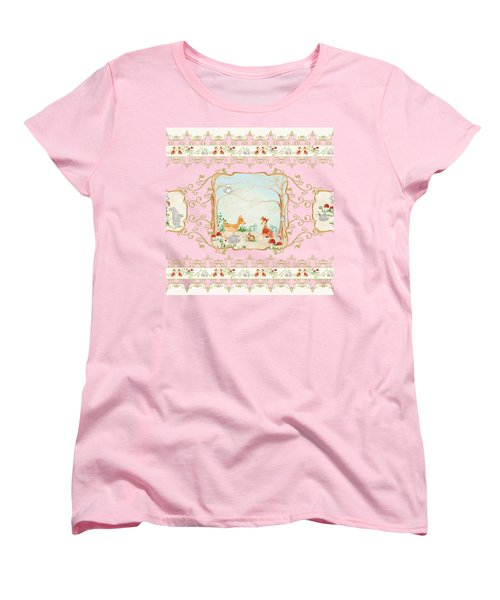 Woodland Fairy Tale - Blush Pink Forest Gathering Of Woodland Animals Women's T-Shirt (Standard Cut) by Audrey Jeanne Roberts