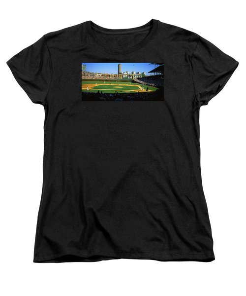 Spectators In A Stadium, Wrigley Field Women's T-Shirt (Standard Cut) by Panoramic Images