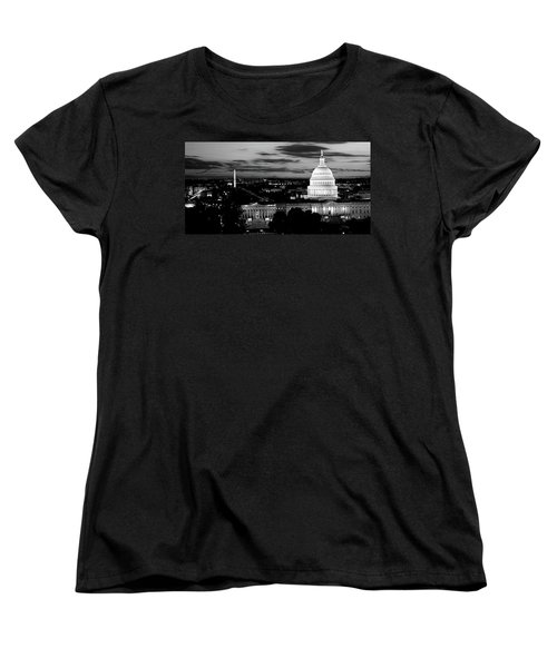 High Angle View Of A City Lit Women's T-Shirt (Standard Cut) by Panoramic Images