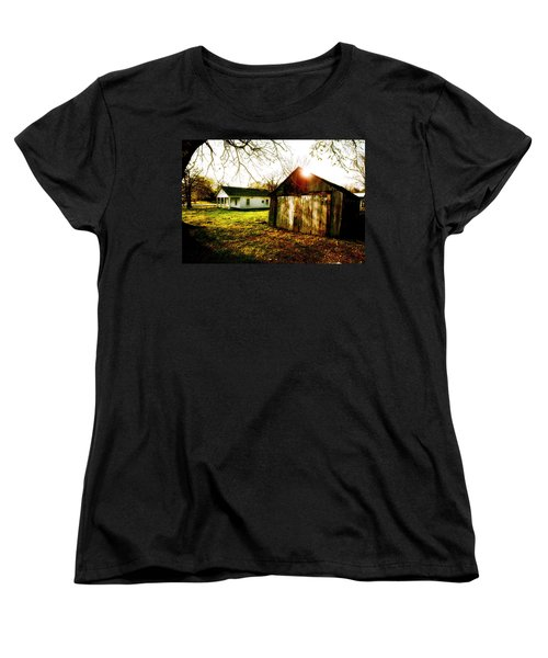 American Fabric   Mickey Mantle's Childhood Home Women's T-Shirt (Standard Cut) by Iconic Images Art Gallery David Pucciarelli
