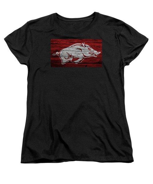Arkansas Razorbacks On Wood Women's T-Shirt (Standard Cut) by Dan Sproul