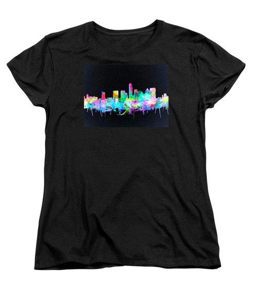 Austin Texas Skyline Watercolor 3 Women's T-Shirt (Standard Cut) by Bekim Art
