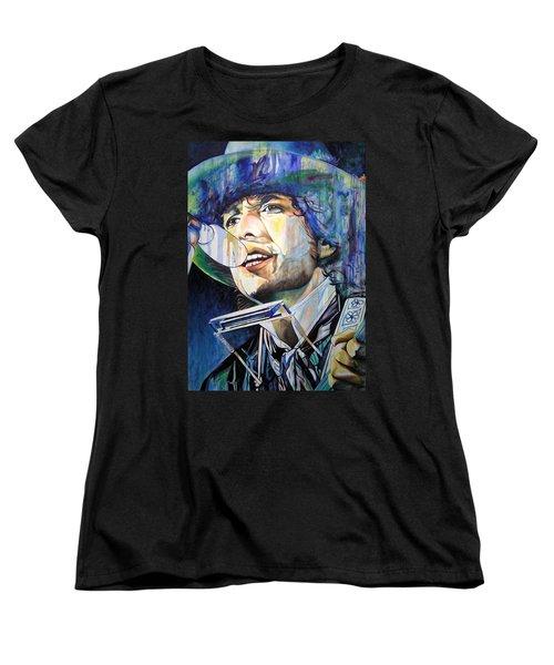 Bob Dylan Tangled Up In Blue Women's T-Shirt (Standard Cut) by Joshua Morton