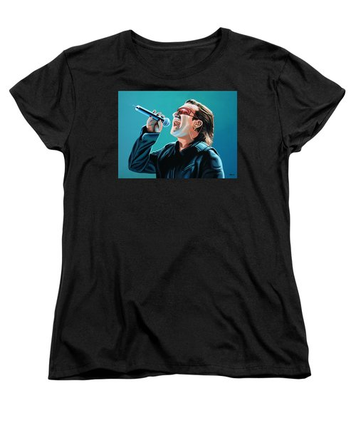 Bono Of U2 Painting Women's T-Shirt (Standard Cut) by Paul Meijering