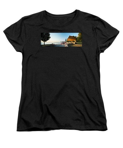 Chicago Lakefront Panorama Women's T-Shirt (Standard Cut) by Steve Gadomski