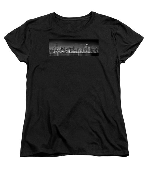 Chicago Skyline At Night Black And White Women's T-Shirt (Standard Cut) by Jon Holiday