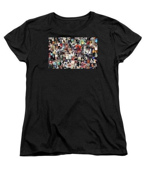 David Bowie Collage Women's T-Shirt (Standard Cut) by Taylan Apukovska