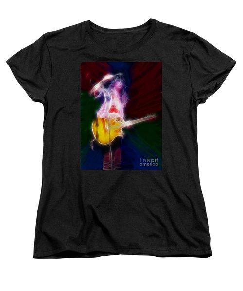 Deff Leppard-adrenalize-joe-gf25-fractal Women's T-Shirt (Standard Cut) by Gary Gingrich Galleries