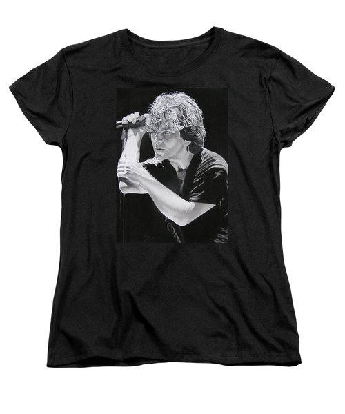 Eddie Vedder Black And White Women's T-Shirt (Standard Cut) by Joshua Morton