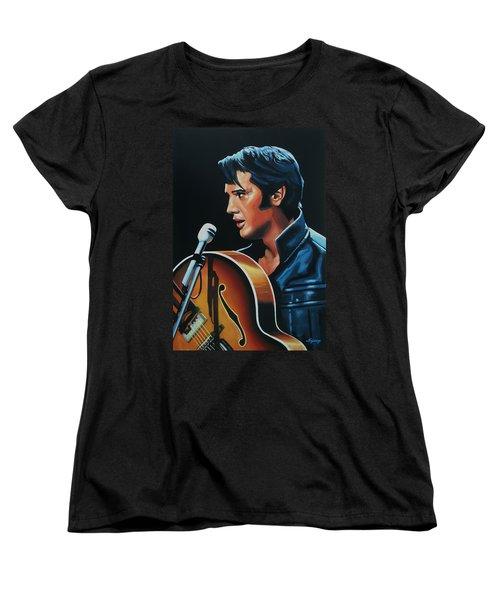 Elvis Presley 3 Painting Women's T-Shirt (Standard Cut) by Paul Meijering
