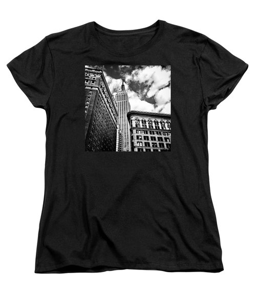 Empire State Building And New York City Skyline Women's T-Shirt (Standard Cut) by Vivienne Gucwa