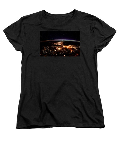 Women's T-Shirt (Standard Cut) featuring the photograph Europe At Night, Satellite View by Science Source