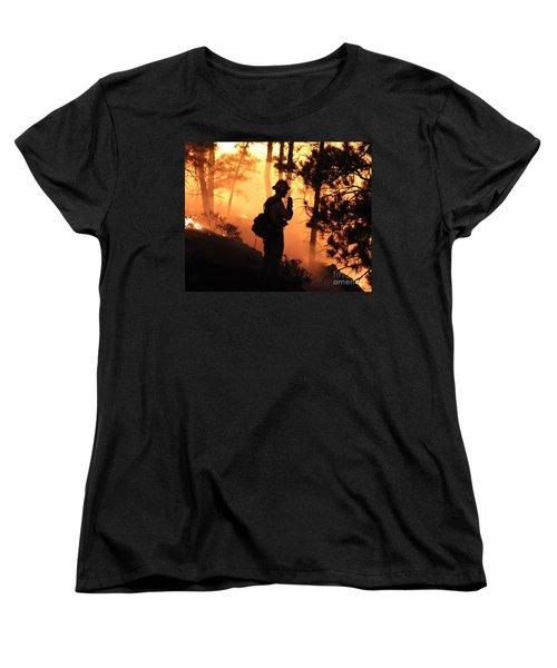 Women's T-Shirt (Standard Cut) featuring the photograph Firefighter At Night On The White Draw Fire by Bill Gabbert