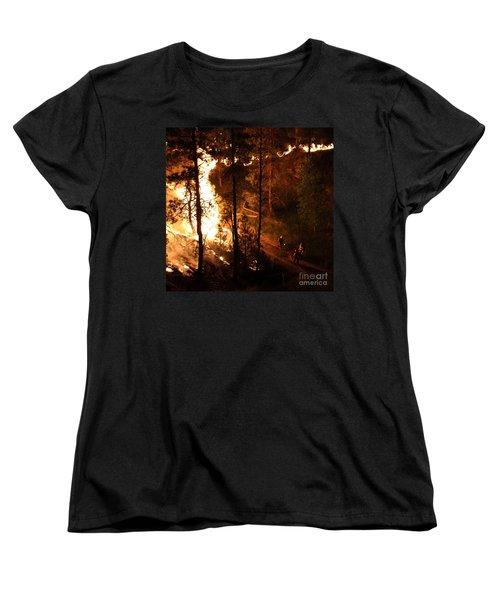 Women's T-Shirt (Standard Cut) featuring the photograph Firefighters Burn Out On The White Draw Fire by Bill Gabbert