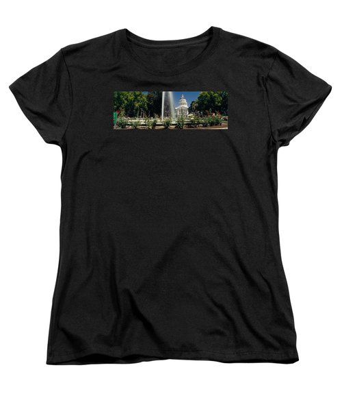 Fountain In A Garden In Front Women's T-Shirt (Standard Cut) by Panoramic Images