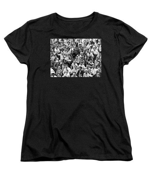 Happy Baseball Fans In The Bleachers At Yankee Stadium. Women's T-Shirt (Standard Cut) by Underwood Archives