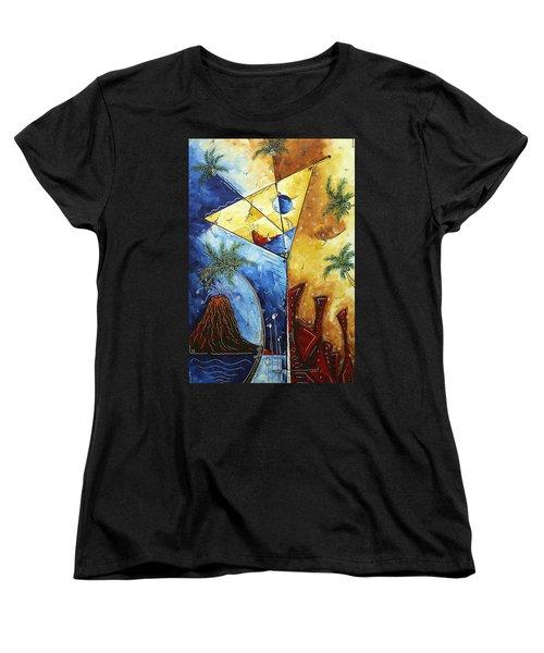 Island Martini  Original Madart Painting Women's T-Shirt (Standard Cut) by Megan Duncanson