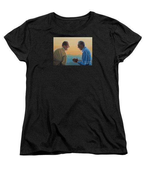 Jack Nicholson And Morgan Freeman Women's T-Shirt (Standard Cut) by Paul Meijering