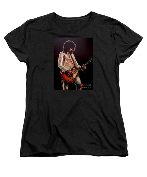 Jimmy Page In Led Zeppelin Painting Women's T-Shirt (Standard Cut) by Paul Meijering