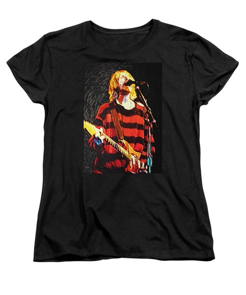 Kurt Cobain Women's T-Shirt (Standard Cut) by Taylan Apukovska