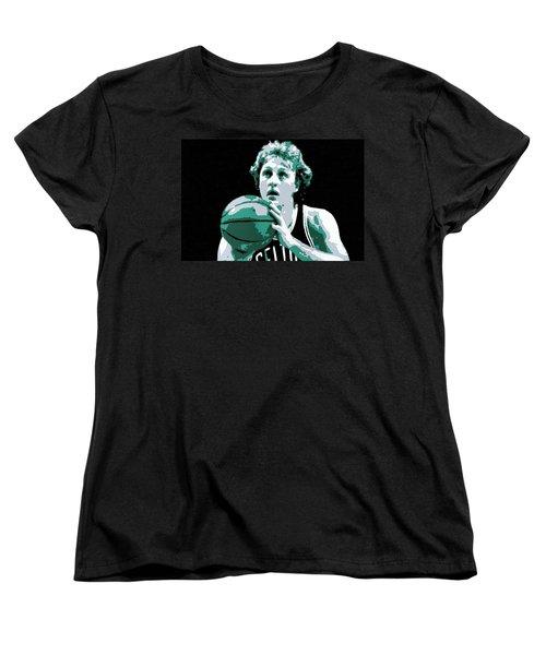 Larry Bird Poster Art Women's T-Shirt (Standard Cut) by Florian Rodarte