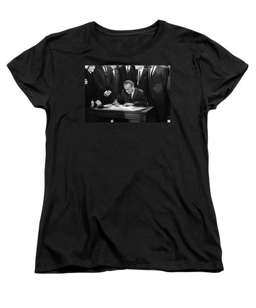 Lbj Signs Civil Rights Bill Women's T-Shirt (Standard Cut) by Underwood Archives Warren Leffler