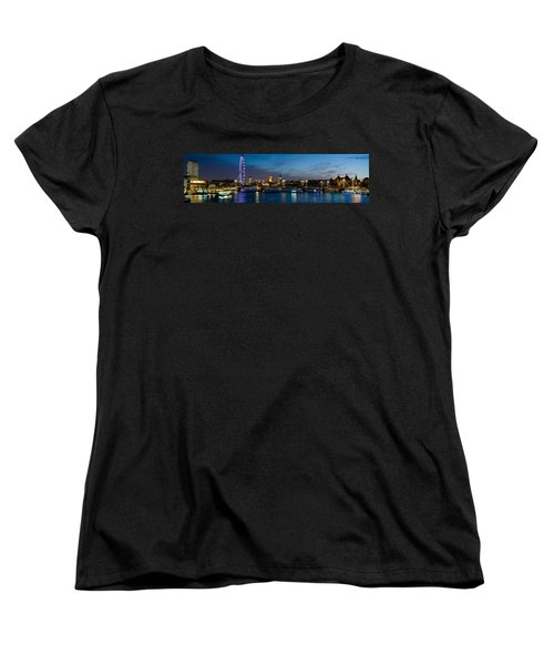 London Eye And Central London Skyline Women's T-Shirt (Standard Cut) by Panoramic Images