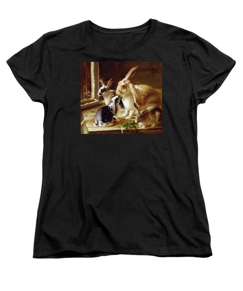 Long-eared Rabbits In A Cage Watched By A Cat Women's T-Shirt (Standard Cut) by Horatio Henry Couldery