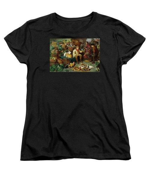 Market Scene Women's T-Shirt (Standard Cut) by Henry Charles Bryant