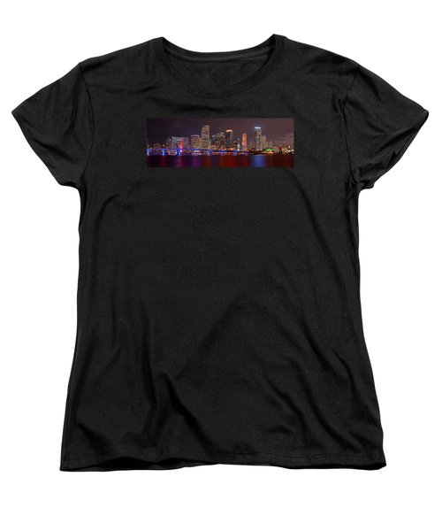 Miami Skyline At Night Panorama Color Women's T-Shirt (Standard Cut) by Jon Holiday
