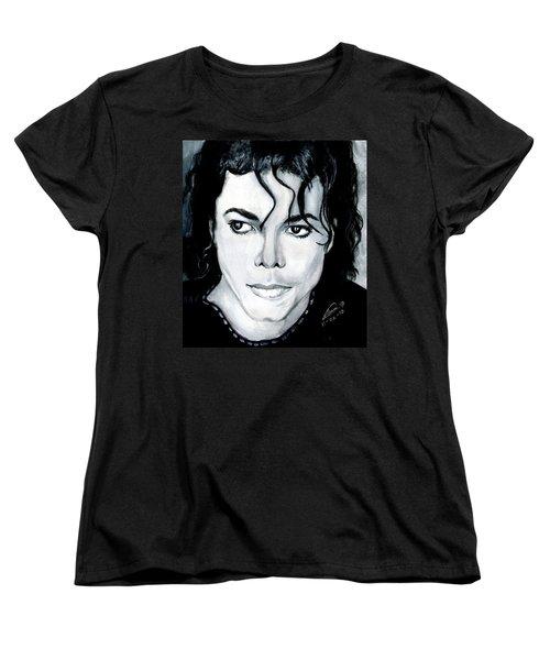 Michael Jackson Portrait Women's T-Shirt (Standard Cut) by Alban Dizdari
