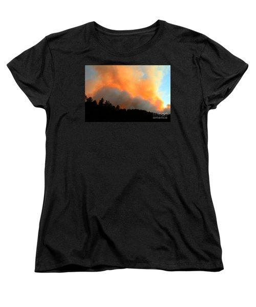 Women's T-Shirt (Standard Cut) featuring the photograph Myrtle Fire Near Rifle Pit Road by Bill Gabbert