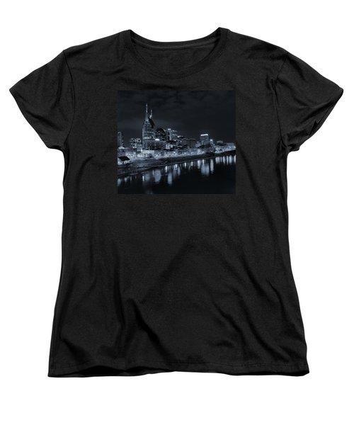 Nashville Skyline At Night Women's T-Shirt (Standard Cut) by Dan Sproul