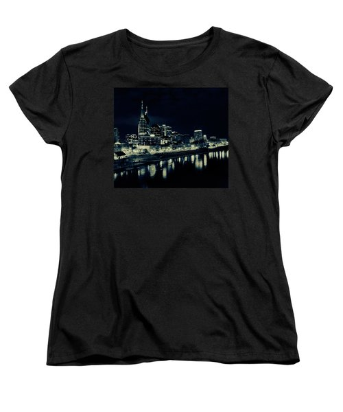 Nashville Skyline Reflected At Night Women's T-Shirt (Standard Cut) by Dan Sproul