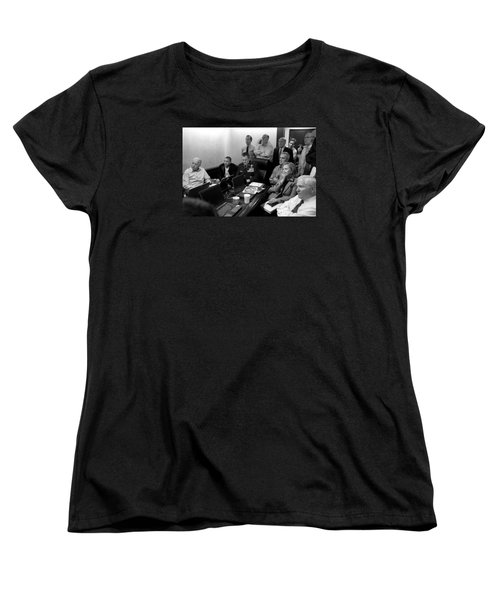 Obama In White House Situation Room Women's T-Shirt (Standard Cut) by War Is Hell Store