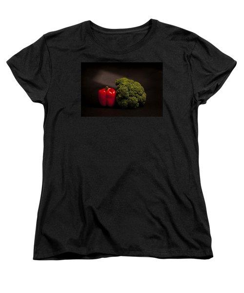 Pepper Nd Brocoli Women's T-Shirt (Standard Cut) by Peter Tellone