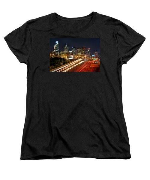 Philadelphia Skyline At Night In Color Car Light Trails Women's T-Shirt (Standard Cut) by Jon Holiday