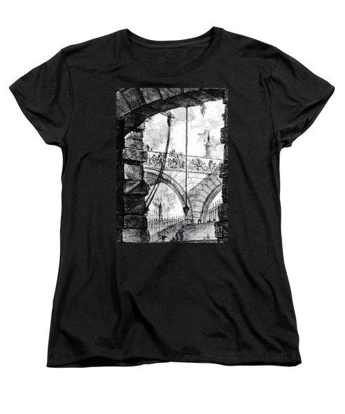 Plate 4 From The Carceri Series Women's T-Shirt (Standard Cut) by Giovanni Battista Piranesi