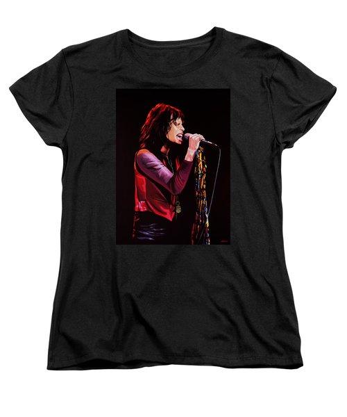 Steven Tyler In Aerosmith Women's T-Shirt (Standard Cut) by Paul Meijering