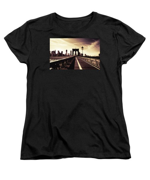 The Brooklyn Bridge - New York City Women's T-Shirt (Standard Cut) by Vivienne Gucwa