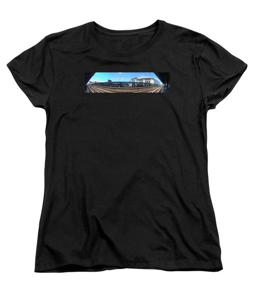 The Old And New Yankee Stadiums Panorama Women's T-Shirt (Standard Cut) by Nishanth Gopinathan