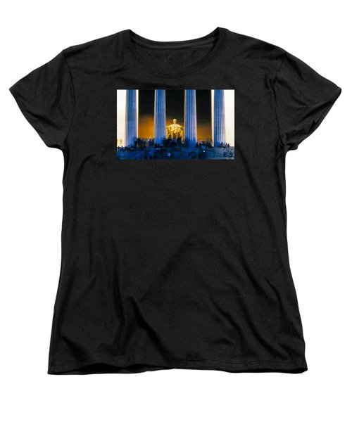 Tourists At Lincoln Memorial Women's T-Shirt (Standard Cut) by Panoramic Images