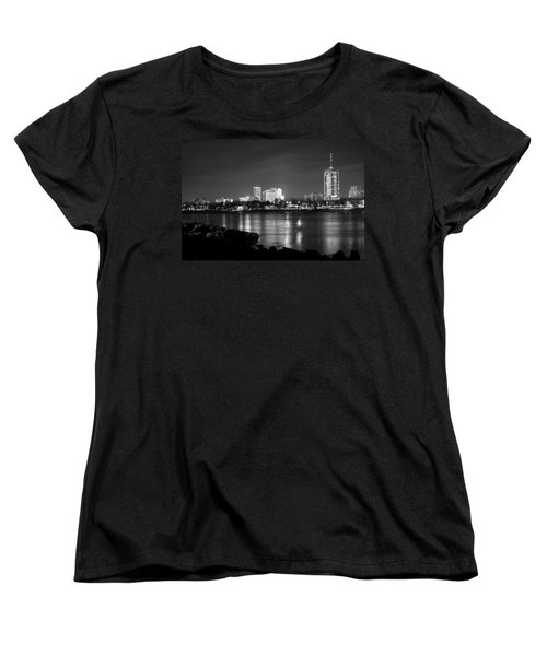 Tulsa In Black And White - University Tower View Women's T-Shirt (Standard Cut) by Gregory Ballos