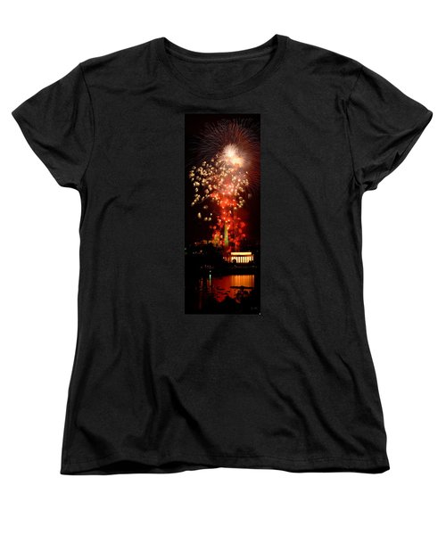 Usa, Washington Dc, Fireworks Women's T-Shirt (Standard Cut) by Panoramic Images