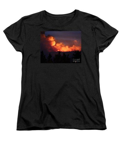 Women's T-Shirt (Standard Cut) featuring the photograph White Draw Fire First Night by Bill Gabbert