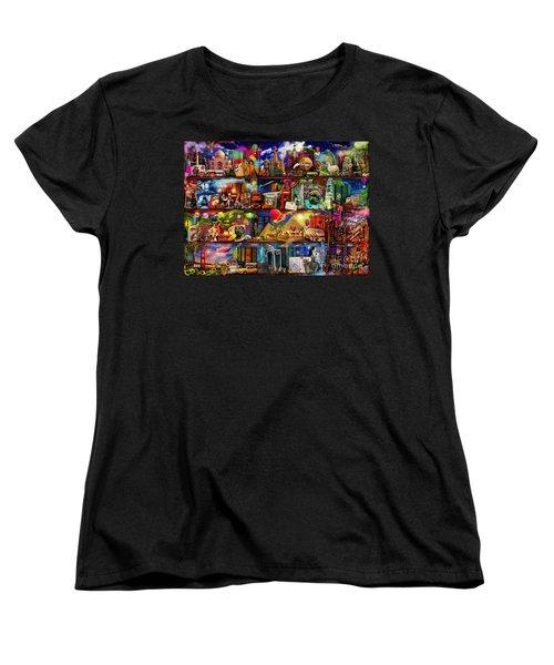 World Travel Book Shelf Women's T-Shirt (Standard Cut) by Aimee Stewart